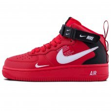 Зимние Nike Air Force 1 Mid 07 LV8 Red With Fur
