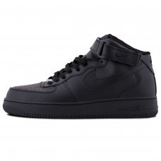 Фотография 1 Зимние Nike Air Force 1 Mid All Black With Fur